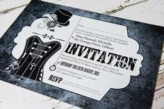 Black & white steampunk wedding invitation.