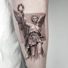 Gallery of single needle tattoos done by professional tattooers that can be filtered by subject, body part and size. Black Ink Tattoos, Black And Grey Tattoos, Leg Tattoos, Body Art Tattoos, Tattoos For Guys, Sleeve Tattoos, Nike Tattoo, Statue Tattoo, Greek Goddess Tattoo