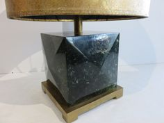 Solid Mid-Century Modern Green Lucite Cube Table Lamp With Brass Base, Original Solid Brass Finial And Round Shade by FLORIDAMODERN on Etsy