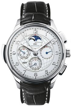 IWC Grande Complication Silver Dial Black Leather Automatic Mens Watch IW377401