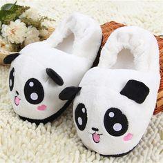 Bonito engraçado Panda mulheres chinelos com os olhos da cara de salto encantador dos desenhos animados Indoor casa inverno amante Pantufas casa macio sapatos de pelúcia em Chinelos de Calçados no AliExpress.com | Alibaba Group