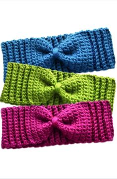 PURCHASED pattern - CROCHET - Crochet Spot ~ Subtle Bow Ear Warmers ~ easy level ~ finished sizes: baby, toddler, child and adult (exact measurements and instructions for measuring are incl. with pattern) ~ picture this: one for Mom and one for babe(s) Crochet Simple, Easy Crochet Patterns, Love Crochet, Crochet Stitches, Crochet Baby, Stitch Patterns, Knit Crochet, Crochet Hooks, Crochet Winter