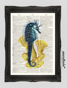 Brown Eyed Sea Horse Ocean Collage Print on an by AvantPrint, $8.00