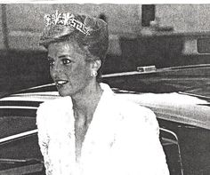 Diana in a Photo Shopped image wearing the Honeysuckle tiara.  She never wore this tiara, atleast not in public.