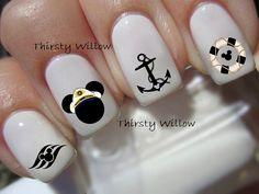 Disney Nail Decals by ThirstyWillow on Etsy Disney Nail Designs, Nail Art Designs, Texans Nails, Dolphin Nails, Pretty Nails, Fun Nails, Silhouette Nails, Football Nail Art, Cruise Nails