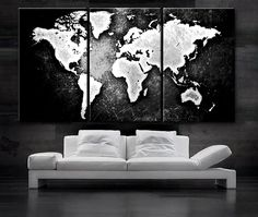 5 pcs modern abstract wall art painting world map canvas painting large 30x 60 3 panels art canvas print world map black white contrast wall home office decor interior included framed 15 depth gumiabroncs Images