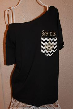 New Orleans Saints Pocket OfftheShoulder Shirt by SewSnazzybyBrook