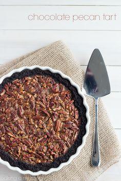 Chocolate Pecan Tart with Chocolate Cookie Crust-