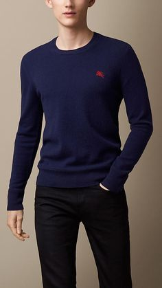Bright navy Heritage Detail Cashmere Sweater - Image 1