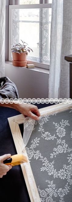 Lace Window Screen/Covering - Pretty DIY window covering.