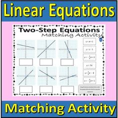 Linear Equations - Matching Activity (cut and paste) by Rethink Math Teacher