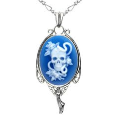 Skull and Serpent Natural Agate Pendant Necklace – Cherry's Rockabilly