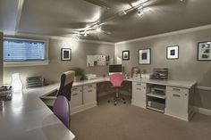 Transitional Home Office with Crown molding, flush light, Carpet, Chair rail, Formica Brite White Laminate