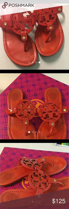 Authentic Tory Burch Miller sandals Red patent leather. Super cute. Super now. Super summer spectacular special. Great condition. Price is firm.  Thanks Tory Burch Shoes Sandals