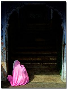 Pink sari. Worn as a sign of protest how woman are treated in India.