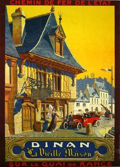 Affiche Dinan Chemin de Fer de L'Etat La vielle Maison 1920 L.Carembat - www.french-vintage-posters.fr