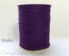 "Violet purple twisted burlap jute string or twine, approximately 1/32"" diameter."
