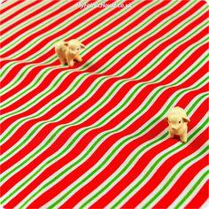 Christmas ♥ 52x49cm Red & Green Stripes Cotton Fat Quarter Fabric £2.99