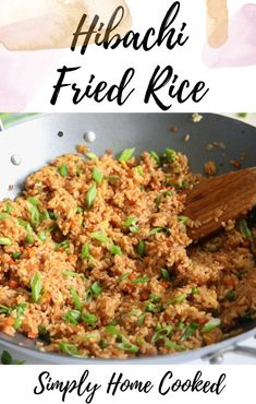 This Hibachi Fried Rice recipe is easy, savory, and delicious. You'll love how versatile it is and the amazing flavors of this satisfying dish. Rice Recipes, Gourmet Recipes, Cooking Recipes, Healthy Recipes, Hibachi Fried Rice, Hibachi Recipes, Japanese Fried Rice, Spaghetti Carbonara Recipe, Making Fried Rice
