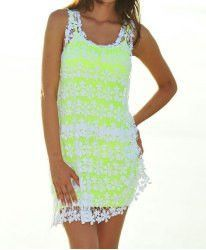 Lace Embroidery Sexy Scoop Collar Sleeveless Dress and Solid Color Sundress Women's Twinset