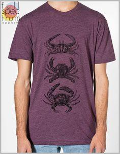 Men's 3 Crabs t shirt  Women's Unisex American Apparel tshirt 8 Colors  XS, S, M, L, XL