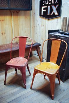 industrial vintage tolix chairs by xavier pauchard red orange laboutiquevintage chairs xavier pauchard