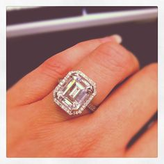 Mimi So emerald-cut diamond halo engagement ring. Fit for a queen!