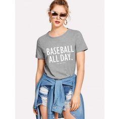 fa7c5f0c511 Dresswel Summer Women Letter Printed BASEBALL ALL DAY Casual Cotton Tee  Short Sleeve T Shirt