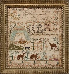 Mary Seckel, Philadelphia, Pennsylvania, 1786. Interesting sampler - camels, a tent and a man on a cushion