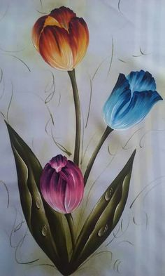 Tulip Drawing, Tulip Painting, Fabric Painting, Fabric Paint Designs, Easy Paintings, Art Lessons, Painted Rocks, Watercolor Paintings, Drawings