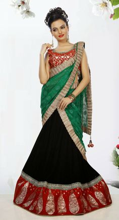 Ethnic Black Velvet Ready Made #Chaniya #Choli