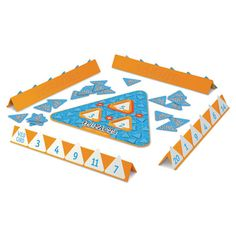 Addition/subtraction Game, Triangle Board, 100 Cards, 4 Trays, Orange/white/blue