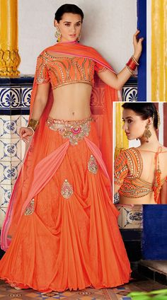 This jacquard lehenga choli in fashionable orange color with dupatta which is decorated with embroidery work. It has heavy work of moti, patch, resham and stone done on the skirt part which is increasing its good looks.This unstitched choli can be stitched in the maximum bust size of 42 inches.
