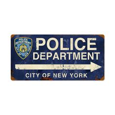 From the New York City licensed collection, this NYPD Arrow vintage metal sign measures 24 inches by 12 inches and weighs in at 3 lb(s). We hand make all of our vintage metal signs in the USA using heavy gauge american steel and a process known as sublimation, where the image is baked into a powd...