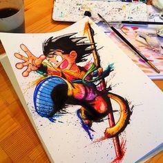 Goku aquarela