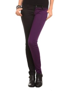 Stretchy skinny jeans with deep purple and black split legs. Classic 5-pocket styling.