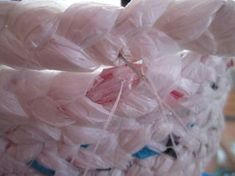 Make a Basket Out of Plastic Bags: 11 Steps (with Pictures) Reuse Plastic Bags, Plastic Bag Crafts, Plastic Baskets, Upcycled Crafts, Sewing Crafts, Repurposed, Diy Arts And Crafts, Diy Crafts, Paper Crafts