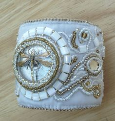 white leather cuff, selling on www.suegoode.etsy.com