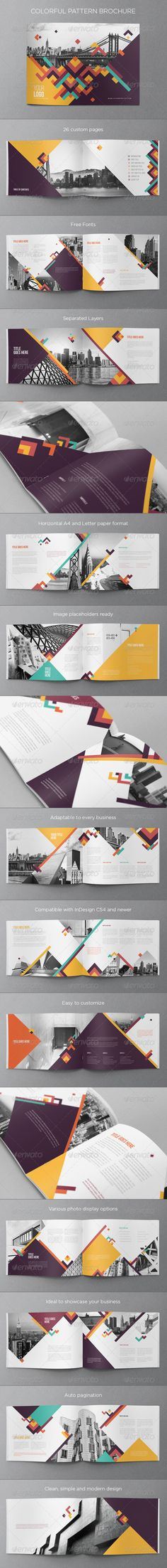 Buy Colorful Pattern Brochure by AbraDesign on GraphicRiver. COLORFUL PATTERN BROCHURE This brochure is an ideal way to showcase your business in an original way. Design Brochure, Booklet Design, Brochure Layout, Graphic Design Layouts, Layout Design, Graphic Design Inspiration, Layout Inspiration, Creative Brochure, Brochure Template