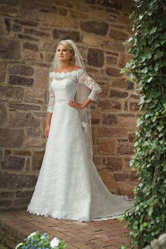 Beautiful A Line Bateau Brush Train Lace  Wedding Dress With Sleeves