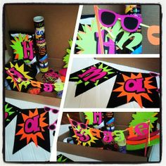 "neon party ideas | DIY ""Your future is bright"" neon party in a box 