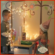 Bored? Stuck inside? Solve it with 1 strand of Christmas lights! Christmas Pretend Play from The Activity Mom