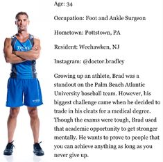 Brad Schaeffer competes on NBC The Titan Games Join Our Team, Meet The Team, Palm Beach Atlantic, Hot Doctor, Ankle Pain, Star Rating, Big Challenge, Chris Hemsworth, Bedside