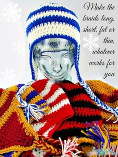 Free Crochet Hat Patterns: Earflap Beanie Pattern - Red Heart Team Cheers Earflap Crochet with Team Yarn, a self-striping yarn that's easy to work with.