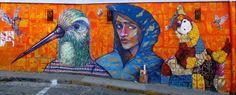 """""""LES ESCALES 2015"""" ST NAZAIRE-VALPARAISO. PHOTO PROJETÉ SUR MUR. CHARQUIPUNK, LA ROBOT DE LA MADERA,INTI"""