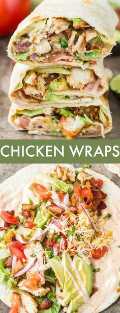 This easy homemade Chicken Wraps Recipe is amazing! Crispy flour tortilla loaded… This easy homemade Chicken Wraps Recipe is amazing! Crispy flour tortilla loaded with juicy chicken, bacon, lettuce, avocado and cheese drizzled with a delicious spicy Ranch Chicken Wrap Recipes Easy, Healthy Chicken Recipes, Easy Healthy Recipes, Easy Meals, Cooking Recipes, Recipe Chicken, Healthy Chicken Wraps, Healthy Tortilla Wraps, Chicken Tortilla Wraps