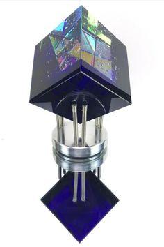 Sculpted Dichroic Glass Cube by Robert Stephan-Jon Kuhn Toland Jack Storms Sand