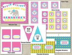 Glam Girl Carnival Birthday Party - Circus Birthday Party - DIY Printable Water Bottle Labels. $8,00, via Etsy.