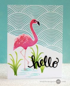 Card by Jennifer McGuire (051116) https://www.youtube.com/watch?v=sPly9wJoVbY [Hero Arts (dies) Color Layering Flamingo Frame Cut; (stamps) Color Layering Flamingo, Hello Stamp & Cut, Wave Pattern Background]