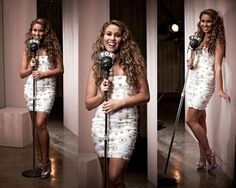 American Idol contestant, Haley Reinhart is wearing a Razan Alazzouni white sequin dress